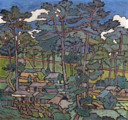 Jules GALAND (1869 ou 1870-1924) Annam. Village...