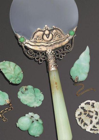 Ensemble de 11 éléments de bijoux en jade-jadéite...