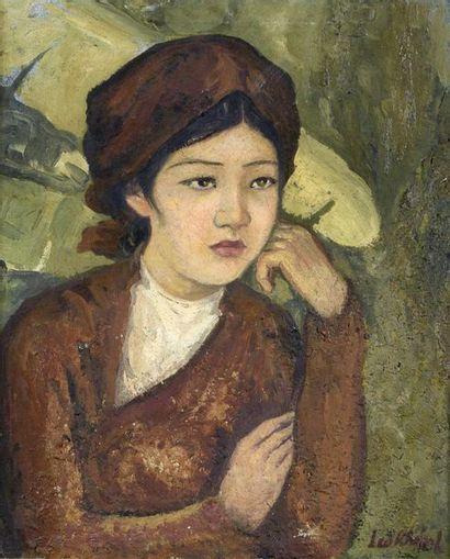 L. KHANH (XXe SIECLE).  PORTRAIT DE JEUNE...