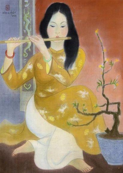 LÊ NANG HIEN (1921-2014)  LA JOUEUSE DE FLUTE....