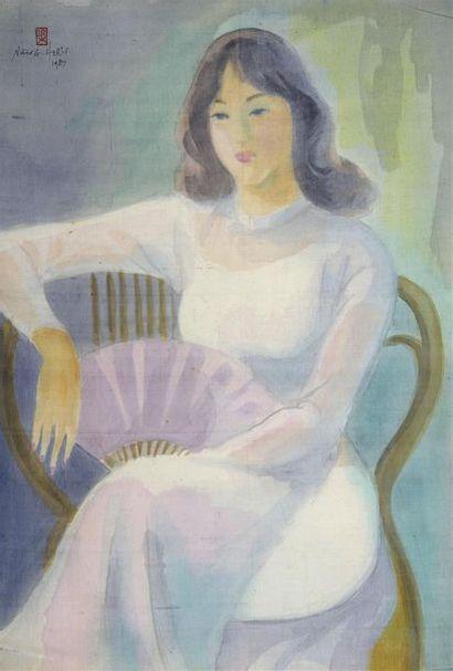 LÊ NANG HIEN (1921-2014).  ELEGANTE A L'EVENTAIL....