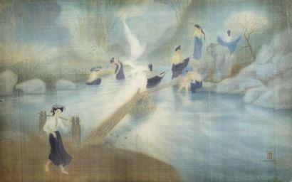 LÊ NANG HIEN (1921-2014).  LES BAIGNEUSES....