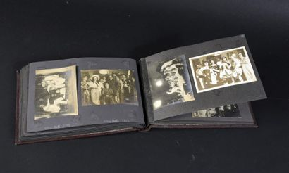 SAIGON 1900.  UN ALBUM A L'ITALIENNE EN CUIR MARRON CONTENANT ENVIRON 80 PHOTOGRAPHIES...