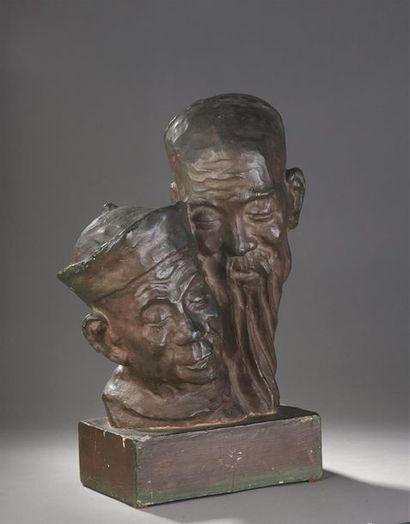 ERNEST PATRIS (1909-1981).  DOUBLE BUSTE...