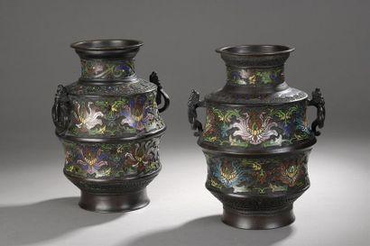 Paire de vases en bronze à patine brune à...