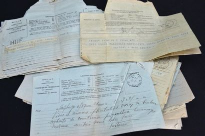 UN ENSEMBLE DE PLUSIEURS MILLIERS DE TIMBRES D'INDOCHINE (oblitérés ou non) DES...