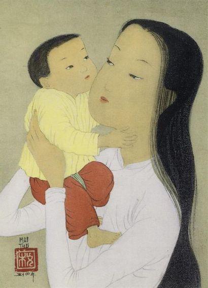 MAI THU (1906-1980) LA MERE ET L'ENFANT....