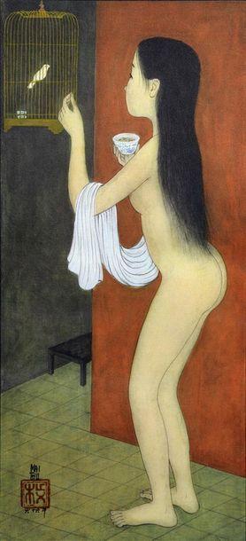 MAI-THU (1906-1980).  NU A L'OISEAU.  Reproduction...