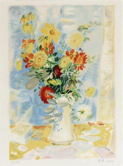 LE PHO (1907-2001)  VASE ET FLEURS.  Lithographie...