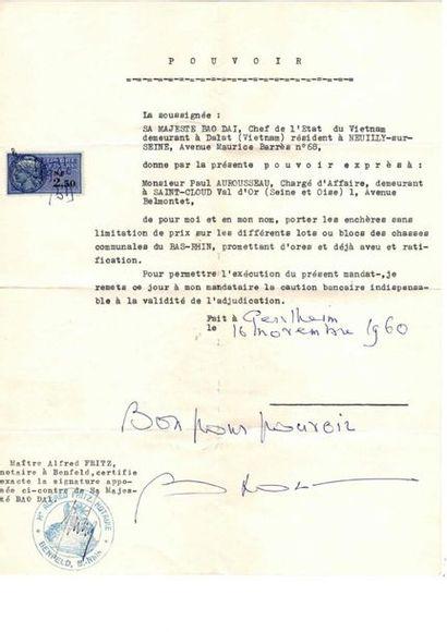 LETTRE DE POUVOIR DE S.M. BAO DAI (1960)....