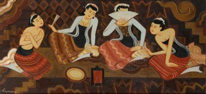 U KHIN MAUNG (1910-1983).  Femmes assises....