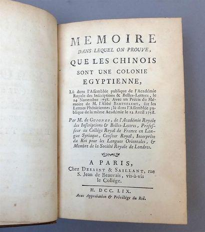1759. Joseph de Guignes. Mémoire dans lequel...