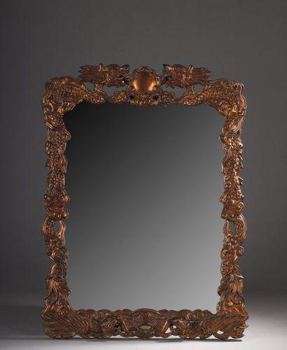 Miroir en bois laqué et sculpté d'origine....