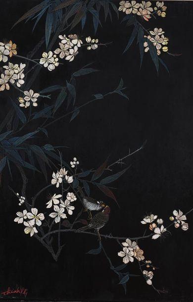 THAN LÊ. Branches de bambous en fleurs. Laque en coromandel sur panneau de bois...