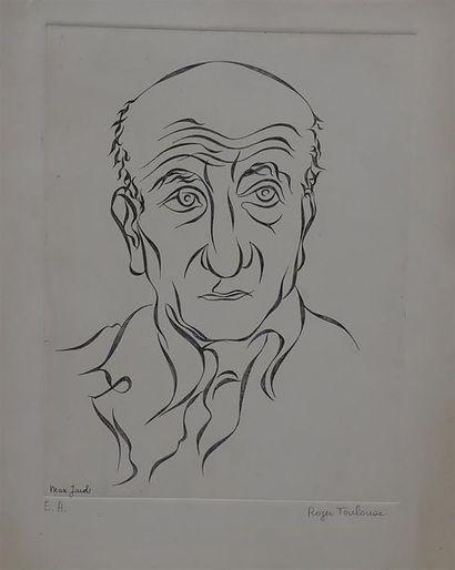 Roger TOULOUSE. Portrait de Max Jacob. Eau...