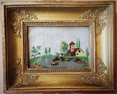 Travail du XIXe siècle. Paysage en perle...