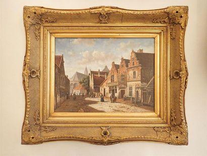 Rue hollandaise, Huile sur panneau encadrée...