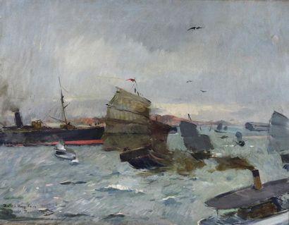 Louis DUMOULIN (1860-1924).  Peintre officiel de la Marine en 1891  La Rade de Hong-Kong....
