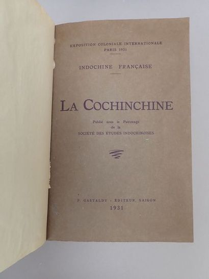 1931. GASTALDY (P.), La Cochinchine,  Saigon,...