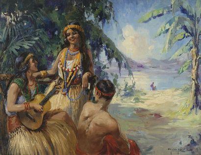 Charles VAN ROOSE (1883-1960)  Jeunes gens sur une île du Pacifique. Huile sur toile...