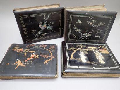 Lot de 4 albums vides, 36 x 27,5 cm, laqués...