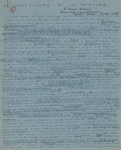 BRETON André Le Surréalisme et la Peinture. Manuscrit autographe signé trois fois,...