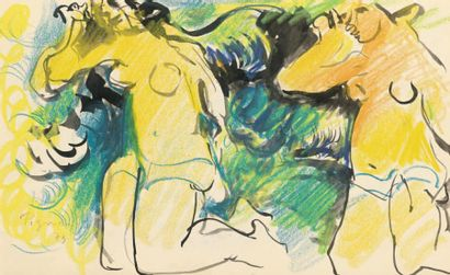 Edouard PIGNON (1905-1993) Deux baigneuses Pastel et lavis d'encre de Chine, signée...