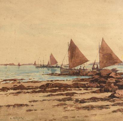Louis ROGER (1874-1953) Bateaux de pêche...