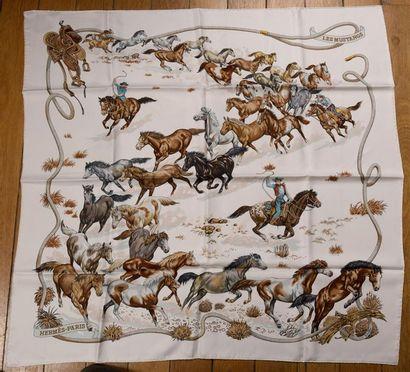 Hermès. Carré Les Mustangs en soie impri...