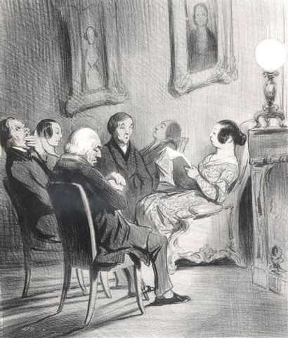 D'après Daumier Lecture du Moniteur Épreuve...
