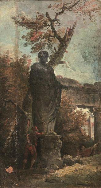 Hubert ROBERT (Paris 1733-1808) Penseur au...