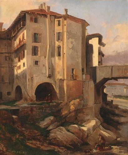 Jules COIGNET (Paris 1798-1860) Vue de Roveredo,...