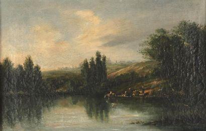 Karl Daubigny (1846-1886) Rivière animée...