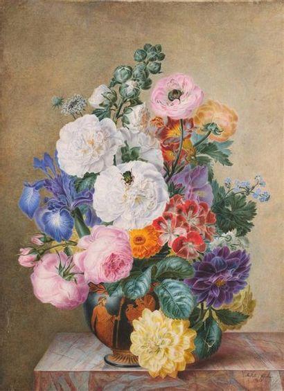 Adèle RICHE (1791-1887) Bouquet de fleurs...