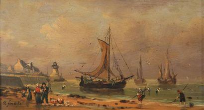 André FONECHE (1851-1942) Scène de pêche...