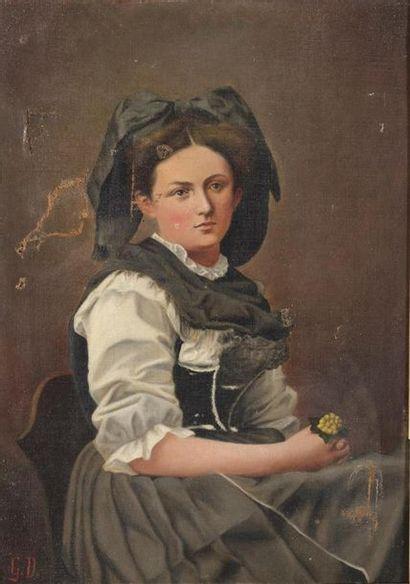 Gustave Doré (1832-1883) Portrait d'une Alsacienne...