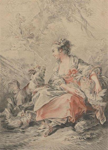 D'après Boucher gravé par DEMARTEAU, XVIIIe...