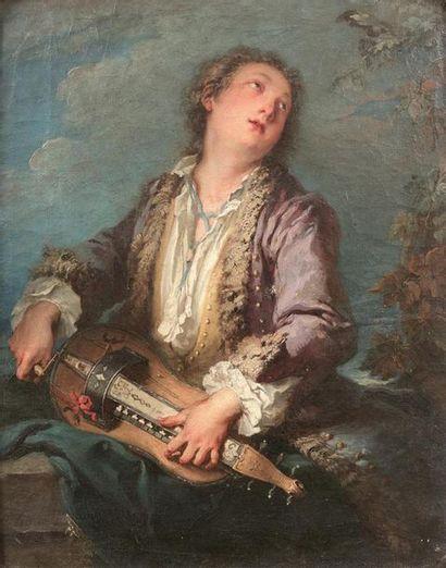 François BOUCHER (1703-1770) Joueur de vielle...