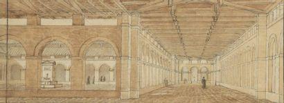École française vers 1800 Intérieur de cloître...