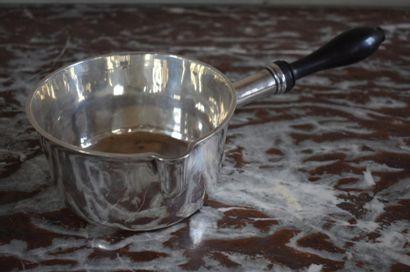 Silver saucepan, Minerva hallmark, 19th century Ebony handle. Gross weight 293 g...