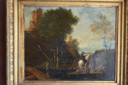 École Flamande du XIXe siècle Paysage animé...