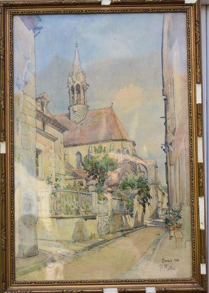 P. Martin (XXe siècle) Vue de Chablis,1928...