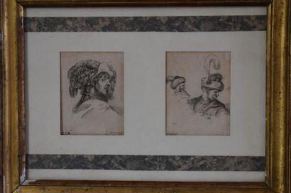 Israel Silvestre (1621-1691) Têtes d'hommes Two etchings. 9 x 7 cm