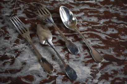 Deux couverts en métal argenté Modèle filet....