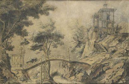Attribué à Jean Baptiste HILAIRE Paysage japonisant Lavis, pierre noire et rehauts...