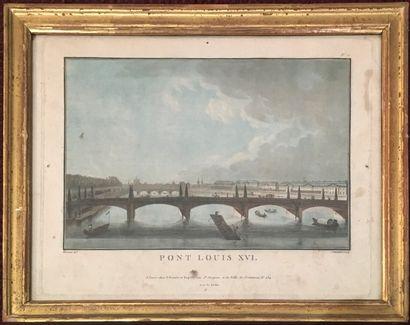 D'après DURAND  Pont Louis XVI  Gravure en...