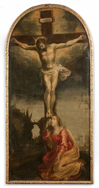 École VÉNITIENNE vers 1600  Christ en Croix...