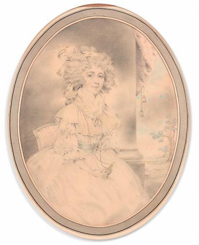 John DOWMAN (1750-1824)  Portrait de femme...