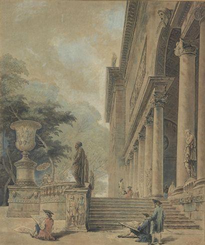 D'après Hubert ROBERT  Vue de la villa Borghèse...