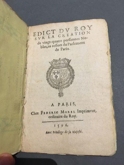 [PARLEMENT de PARIS]. Edict du Roy sur la...